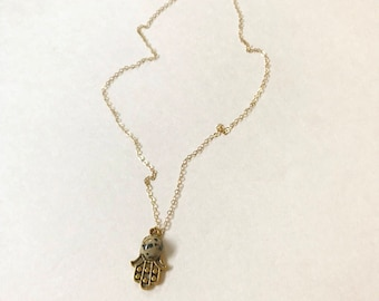 Dalmatian Jasper Gold Hamsa Necklace