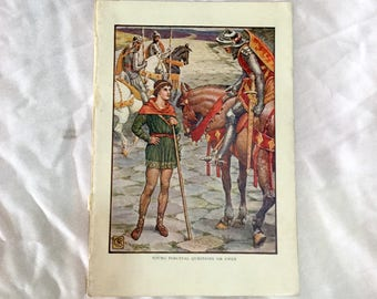 Walter Crane  Art 1911 Knights of Round Table Young Perceval Questions Sir Owen Color Print