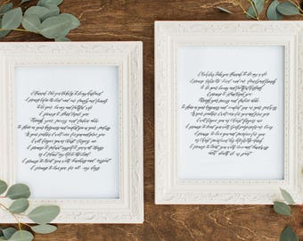Custom 8x10 Black and White Wedding Vows