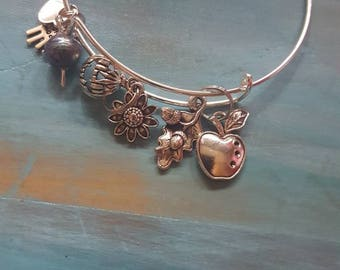Stainless steel bangle bracelets with fall autumn charms and pearls 2 for 8.00