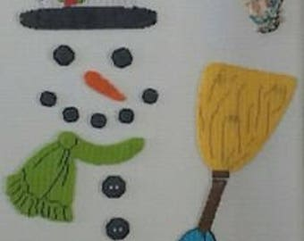 Snowman magnet made of plastic canvas
