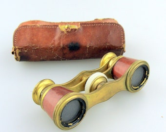 Antique Cross Opera Glasses or Binoculars in original Leather case