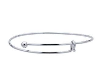 Add a Charm Adjustable Silver Bracelet,Adjustable / Expandable Charm Bracelet with Ball End,Silver Finish Adjustable Bracelet, Made in USA,