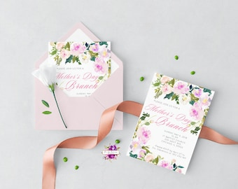 Mother's Day Brunch Invitation - Watercolor Floral - Pink and Purple - Mother's Day - Printable Digital Invitation