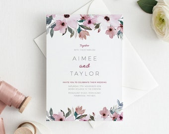 Printable Wedding Invitation | RSVP | Details Card | Evening | PDF | Download | Custom | Botanical | Floral | Watercolour | Aimee suite #96