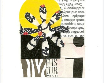 """Acrobatics - Collage with Printed and Hand Painted Papers 2-1/2 x 3-1/4"""" on 4 x 6"""" Backing"""