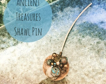 Ancient Treasures Shawl Pin - Antique Copper, Turquoise, Mykonos Beads - unique gift for her - wrap accessory - knitters - crochet accessory