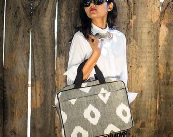 Grey & White Ikat Laptop Bag