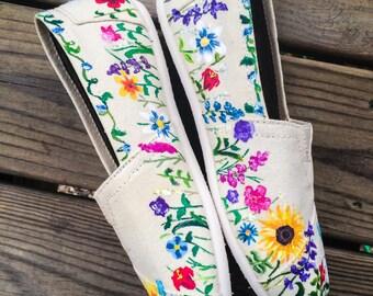Flower Floral Custom Toms Shoes