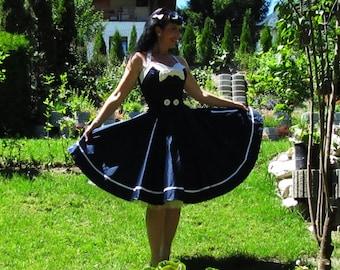 Pinup dress 'Sailor Girl' white nautical dress, sailor dress, navy rockabilly dress