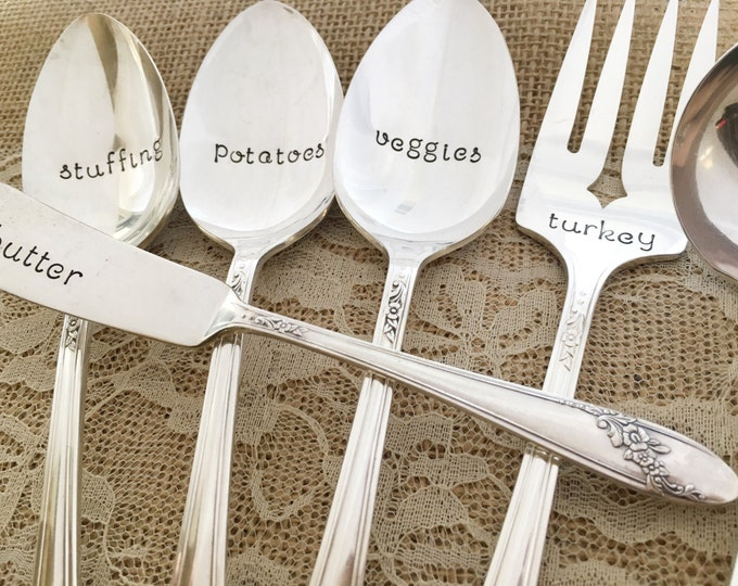 6 piece thanksgiving serving set. hand stamped serving set, vintage silverplate. Queen Bess