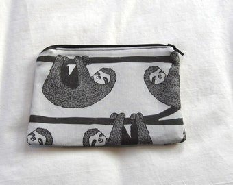 Sloths Fabric Coin Purse/Zipper Pouch/Gift Card Envelope Bag