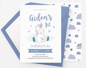 Boy Unicorn invitations, Boy first birthday invitation Printable Unicorn birthday invitations boy, Unicorn birthday invites Boy 1st birthday