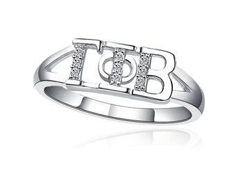 Gamma Phi Beta Ring, Horizontal Design, Sterling Silver (GPB-R001)