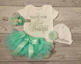Baby Girl Coming Home Outfit, Baby Girl Take Home Outfit, Baby Girl Clothes, Baby Shower, Personalized, Baby Girl Outfit, Bring Home Outfit