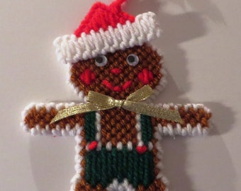 needlepoint gingerbread boy Christmas ornament