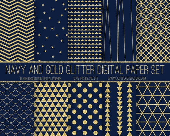 Navy Blue And Gold Glitter Modern Digital Scrapbook Paper With