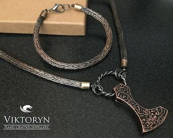 Viking/Norse Knit Copper Bracelet & Necklace, Reenactment