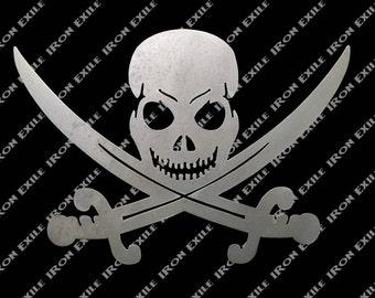 Jolly Roger Pirate Skull Metal Wall Art
