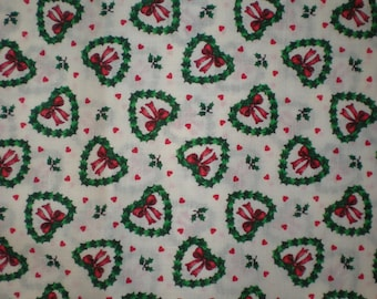 Christmas Wreath Hearts Fabric One Piece 2 yards & 11 inches Vip Screen Print Cranston Print Works Co.