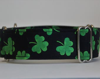 "Greyhound Green Shamrock on Black 1.5"" Martingale Collar"