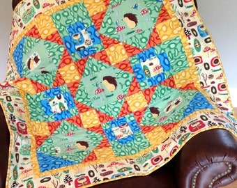 Hedgehog Lap Quilt - Green, Orange, Blue Yellow - Animals, Mushrooms, Toadstool Baby Quilt