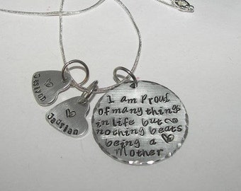 Nothing beats being a mom, personalized jewelry , Sterling silver, Hand stamped jewelry, mommy jewelry, engraved, custom stamped