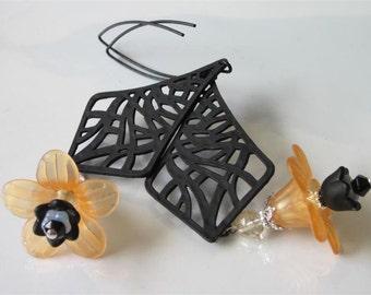 Modern Flower Earrings, Orange Lucite, Black Chandelier, Long Earrings, Leaf Marquise Ear Wires, Filigree Earrings, Abstract Jewelry