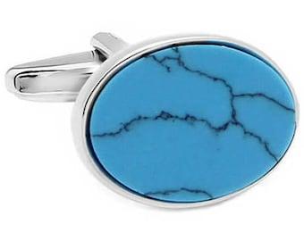 TURQUOISE OVAL CUFFLINKS n00627