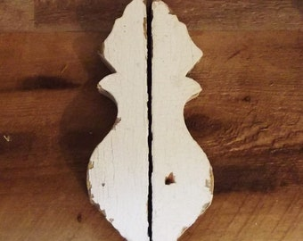 Vintage Wood Architectural Salvage Pieces - Lot of 2 Chippy White Brackets - Old House Parts