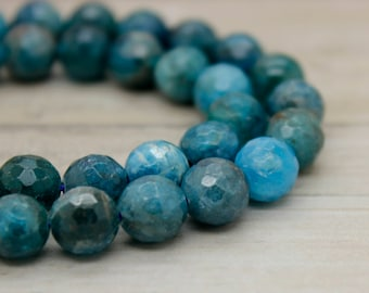 Apatite Round Faceted Gemstone Beads (6mm 8mm 10mm)