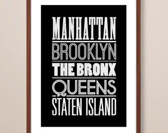 New York print, New York art print, New York inspired print, typographic print, New York boroughs, typographic art, New York poster art