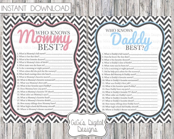 Baby Shower Game Who Knows Mommy Daddy Best Gray Chevron Pink