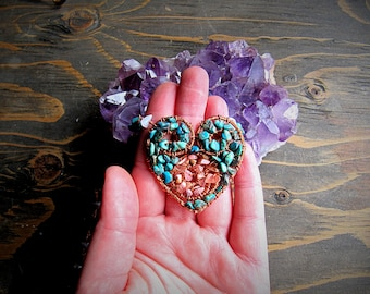Chrysocolla & Rhodonite Necklace // Crystal Necklace // Copper Jewelry // Wire Wrap // Goddess // Magic // Wild Moon Child