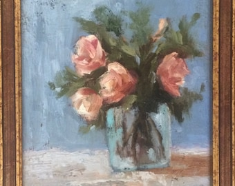 Roses & Glass Vase still life original oil painting 9x12 framed