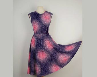pink and blue op art confetti print skirt set 60s 70s vintage cap sleeve blouse and midi A line soft pleat skirt small