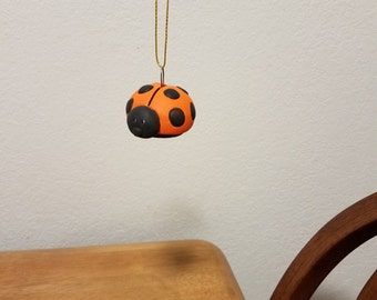 Ceramic Lady Bug Ornament (#846) - Persimmon Orange