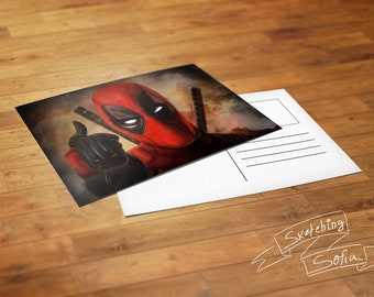 Deadpool, Harley Quinn , Dr Who Postcard