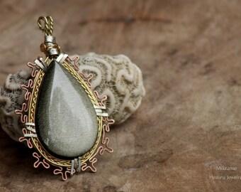 Obsidian wire wrap,obsidian pendant,obsidian jewelry,brass jewelry,copper jewelry,brass pendant,necklace,healing gift,burning man,meditation
