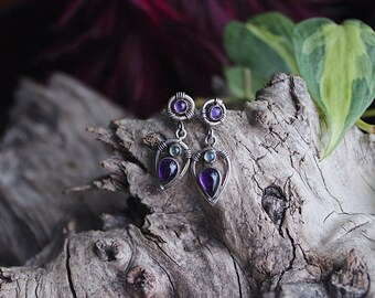 Sterling silver artisan amethyst and labradorite goddess drop earrings