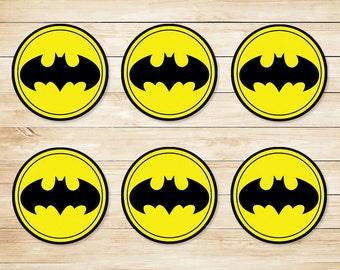 Batman Sticker // Batman Cupcake Topper // Batman Party Favors // Batman Party Supplies // Batman Logo // Superhero - 2 inch Circles