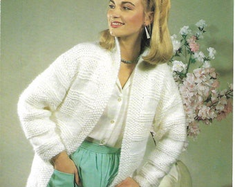 knitting pattern, ladies, easy knit, jacket, cardigan, sizes 30-38 in, pdf, digital download