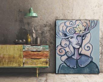 "Fairy tail noble portrait, surreal painting, feminist artist 40""x32"" noble painting, Large Painting, weird home decor, original oil painting"