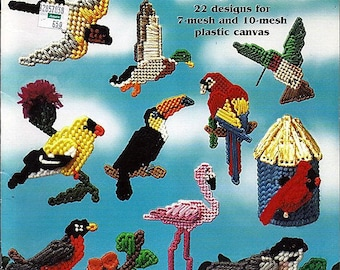 Plastic Canvas Bird Magnets Pattern Book American School of Needlework 3189