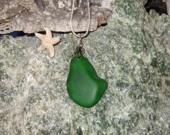 Grün-Strand-Meer Glas Halskette Sterling Silber 18 Zoll lange Kette Meerjungfrauen Tränen
