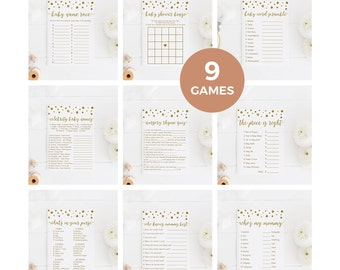 Gold Baby Shower Games Package, Gold and White Baby Shower, Confetti Baby Shower Games Pack, Printable Instant Download - CG1
