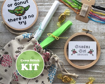 Do or Donut There is No Try - Yoda Cross Stitch Kit - Star Wars Cross Stitch Kit - Donut Cross Stitch Kit - Modern Embroidery Kit
