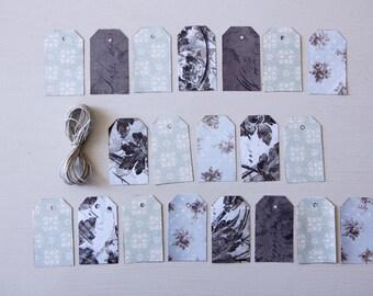 Handmade Gift Tags, Set of 20, Baroque Decorative Paper 3.2cm x 5.5cm