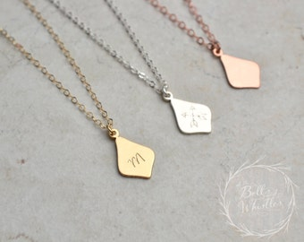 Initial Necklace, personalized necklace, gold initial necklace, gift for her, flower petal necklace, personalized initial tag necklace