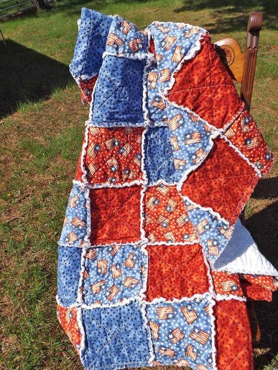 Flag and Stars Rag Style USA Quilt by RagQuiltsbyJulie
